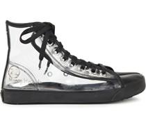 Leather-trimmed Pvc Split-toe Sneakers