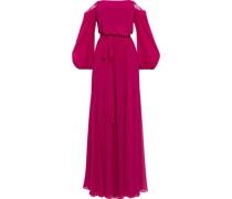 Schulterfreie Robe aus Chiffon mit Gürtel