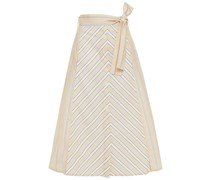 Striped Cotton-poplin Midi Skirt