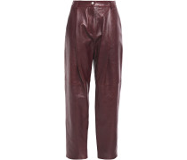 Pleated Houndstooth Wool Tapered Pants
