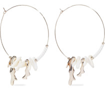 9-karat -plated, Shell And Bead Hoop Earrings