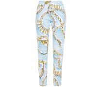 Printed Mid-rise Slim-leg Jeans