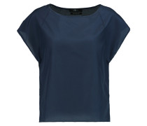 Silk And Cotton-blend Top Navy