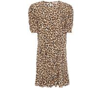 Gathered Leopard-print Silk-blend Mini Dress