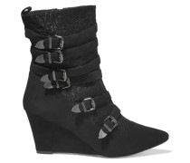Buckingham Buckled Corded Lace And Suede Wedge Boots Schwarz