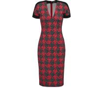 Ponte-paneled Satin-jersey Dress Rot