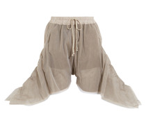 Oversized Ruched Tulle Shorts Champignon