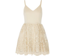 Julianne Ballerina Crepe De Chine And Embroidered Tulle Dress Gold