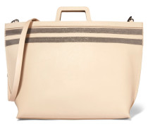 Bead-embellished Leather Tote Creme