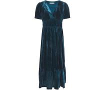 Gathered Crushed-velvet Midi Dress