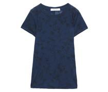 T-shirt aus Stretch-jersey mit Floralem Print und ausbrennmuster