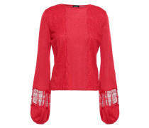 Lace-trimmed Cashmere And Silk-blend Top
