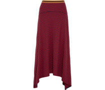 Striped cotton draped midi skirt