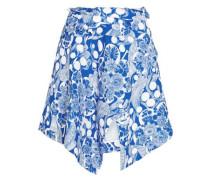 Asymmetric printed crepe mini skirt