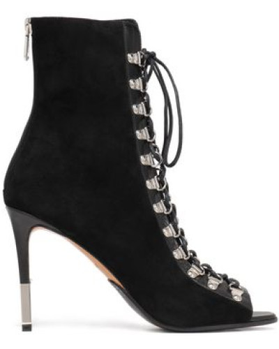Lace-up Suede Ankle Boots Black