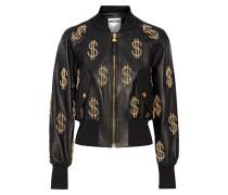Embellished Leather Jacket Schwarz