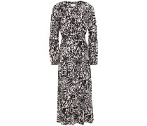 Gathered Leopard-jacquard Midi Wrap Dress