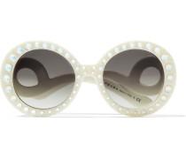 Crystal-embellished Round-frame Acetate Sunglasses Ivory