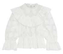 Edna Ruffled Polka-dot Cotton And Silk-blend Organza Blouse