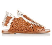 Woven Leather And Elaphe Sandals Braun