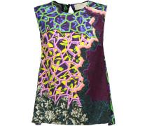 Astrid Printed Stretch-silk Top Mehrfarbig
