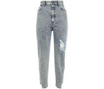 Hoch Sitzende Jeans mit Schmalem Bein in Distressed-optik und Acid-waschung