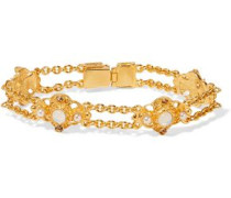 Gold-tone faux pearl, stone and crystal bracelet