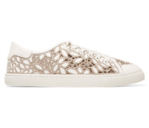 Crocheted, Mesh And Leather Sneakers Weiß