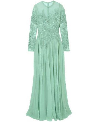 Embellished Silk-blend Swiss-dot Tulle, Lace And Chiffon Gown Mint