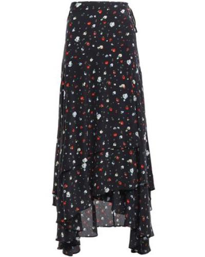 Woman Floral-print Silk Crepe De Chine Midi Wrap Skirt Black