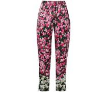 Cropped Hose mit Schmalem Bein aus Satin mit Floralem Print