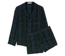 Lillian Checked Silk Pajama Top Schwarz
