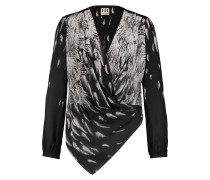 Printed Silk Crepe De Chine Blouse Charcoal