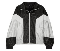 Color-block Metallic Shell Jacket