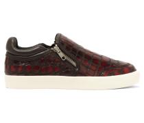 Intense Croc-effect Leather Slip-on Sneakers Burgunder