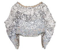 Cropped Draped Sequined Georgette Top Silber