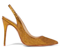 Glittered Coated-leather Pumps Gold