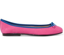 India bow-embellished suede ballet flats