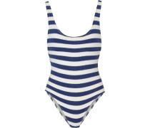 The Anne-marie Striped Stretch-terry Swimsuit Blau