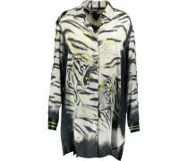 Printed Silk-satin Shirt Elfenbein