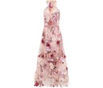 Geraffte Robe aus Tüll mit Blumenprint und Floralen Applikationen