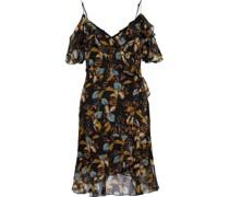 Cold-shoulder Ruffled Printed Silk-chiffon Mini Dress