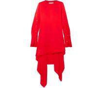 Asymmetric Open-back Draped Satin Mini Dress