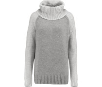 Two-tone Knitted Sweater Grau
