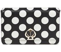Box-clutch aus Leder mit Eidechseneffekt und Polka-dots