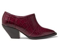 Cowboy Croc-effect Leather Ankle Boots