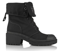 Cotton-canvas Ankle Boots Schwarz