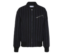 Striped wool-blend bomber jacket