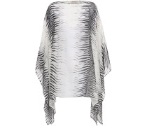 Draped Zebra-print Cotton And Silk-blend Voile Top
