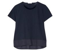 Cara Voile-trimmed Slub Cotton-jersey Pajama Top Navy